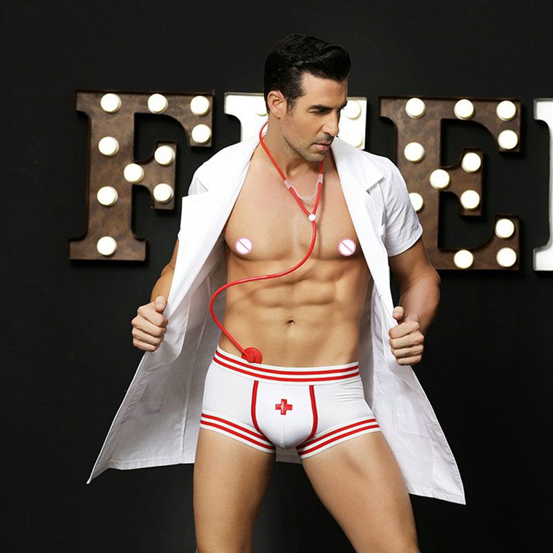 high quality Sexy Lingerie for men sexy Doctor Costumes white role-playing costume for party hot Erotic Doctor Man