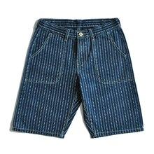 Saucezhan Mens Shorts wabash jeans shorts Heart Discharge Dyeing Shorts Denim Shorts Selvedge Jeans Vintage Japanese Style