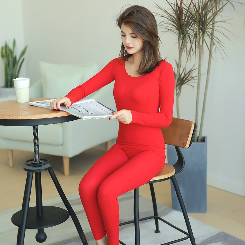 2019 Winter Women Thermal Underwears Tops+Pants Sexy Slimming Warm O-neck Cotton Antibacterial Long Sleeve Long Johns