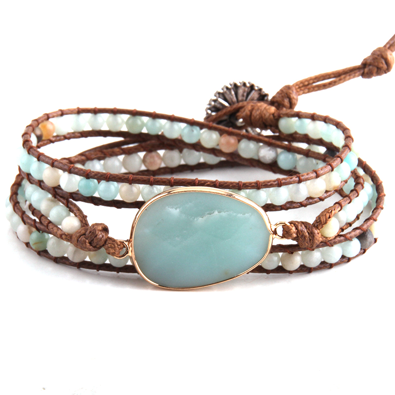 Fashion Beaded Boho Bracelet Jewelry Handmade Natural Stones Charm 3 Strands Wrap Bracelets Drop Shipping(China)
