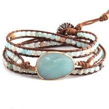 Bracelets en pierre naturelle, faits à la main, bijoux perlé, style bohème, breloque d'enveloppement, 3 brins, livraison directe