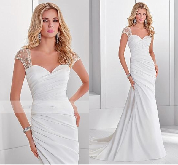 2020 Elegant Sweetheart White Ruched Wedding Dress Cap Sleeve Court Train Chic Wedding Bridal Gowns Vestidos De Noiva Plus Size