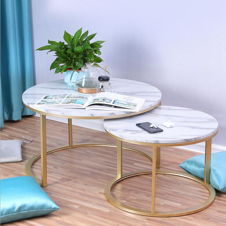 Marble Texture Coffee Table For Living Room Sofa Side Round Coffee Tea Table 2 In 1 Combination Furniture Golden White Black