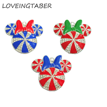 ( Choose Color First ) 41MM 10pcs/lot  Christmas Minnie With Bow Rhinestone Pendants For Necklace