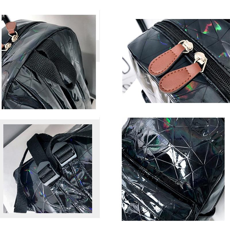 Holographic Women's bag Hologram Leather Female Fashion travel Backpack Laser For Girl School Casucal bag Pack Mochila feminina