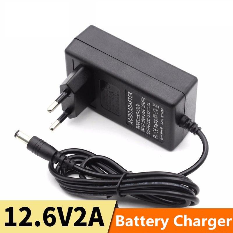 12.6V DC Lithium Battery Charger 100-240V 2A/1A EU/ US Plug 18650 Polymer DC 5.5*2.1mm Lithium Battery Charger Power Adapter