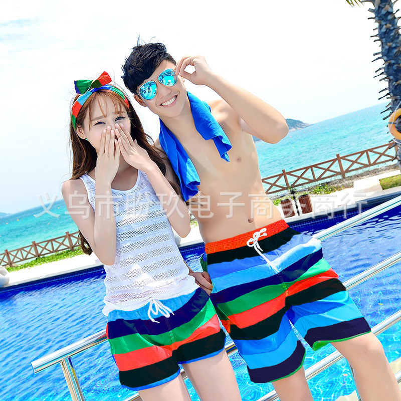 Couples Beach Shorts Korean Quick-Dry Breathable Large Size Short Seaside Holiday Hot Springs Household Men And Women Shorts Red