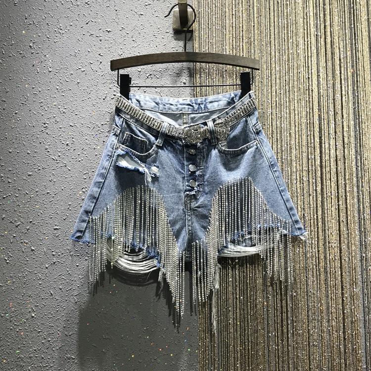 2020 Summer New Ripped High Waist Rhinestone Tassel Chain Slim-Fit Straight-Leg Denim Shorts Women's Jean Shorts Short Jeans
