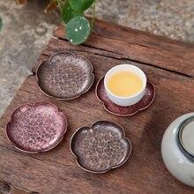 Teacup-posavasos de cobre chino hecho a mano, juego de posavasos para ceremonia de té, kung-fu