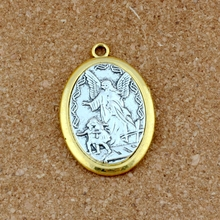 2Pcs/lot  Two - tone Catholic patron San Michael the Archangel Alloy charm Pendants Fashion DIY Jewelry 31.8x47.5mm A-548