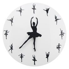 Ballerina Dancer Wall Clock Yoga Postures Decorative Ballet Time Watch Girl Room Dancing Studio Decor 3D