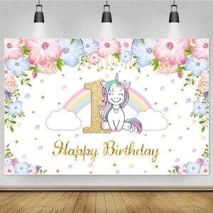 Image 5 - Laeacco Happy Birthday Party Decor Poster Unicorn Photo Backdrop Golden Polka Dots Stars Customized Photography Background