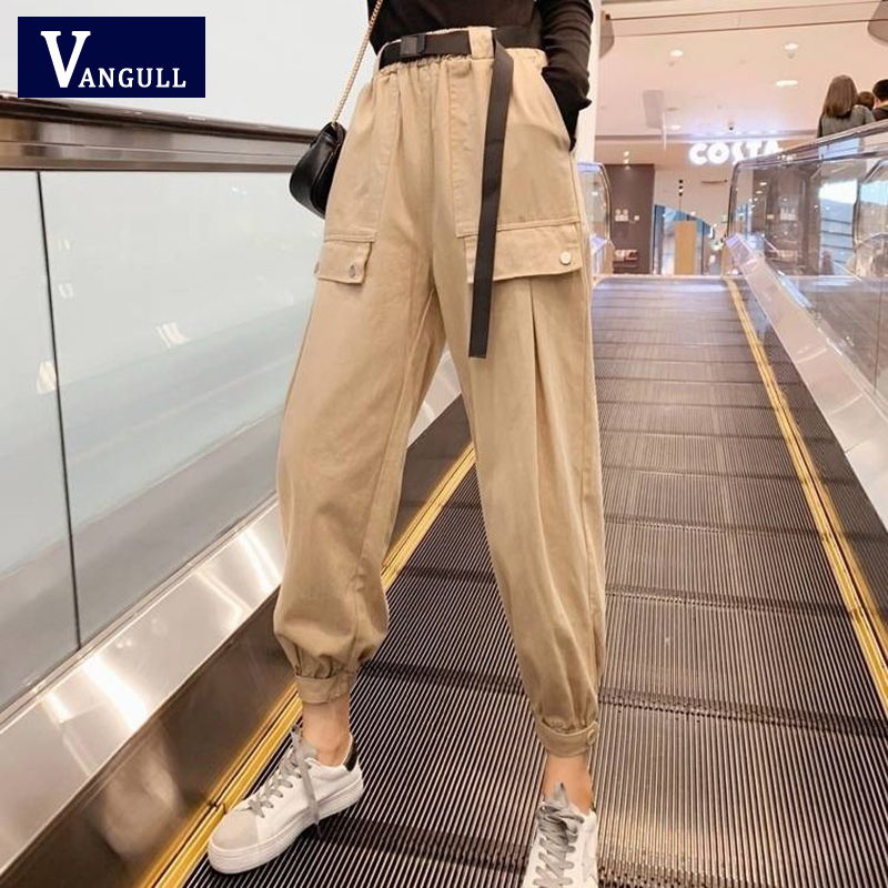 Vangull Streetwear Solid Cargo Pants With Sashes Women High Waist Loose Pleated Harajuku Pants Korean Style Fashion Trousers
