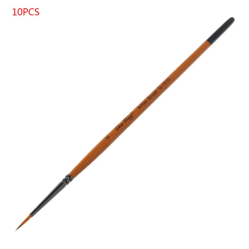 10pcs/set Fine Hand Detail Painted Thin Hook Line Pen Drawing Point Tip Nylon Brush Acrylic Painting Craft Art Supplies QX2B