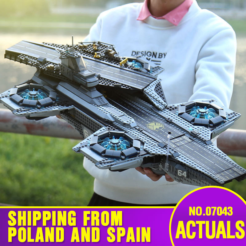 Lepining DHL 07043 Super Heroes Toys Compatible With 76042 SHIELD Helicarrier Model Building Kits Blocks Bricks New Kids Toys