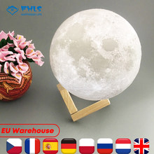 LED Moon Light Decoration 3D Print Creative Touch Switch Control 2 Colors USB Charge For Home Kids Gift Bedside Table Desk Lamp