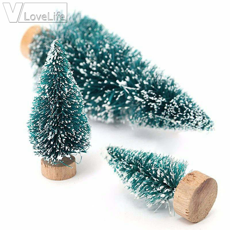 5Pcs 12.5cm DIY Mini White New Year's Christmas Tree arbol de navidad Christmas Decorations For Home Village House Decor image