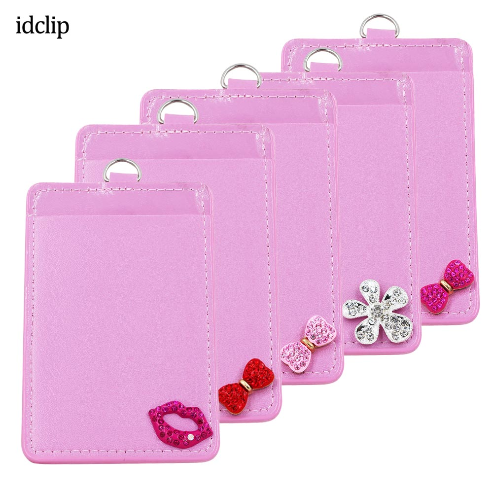Idclip Pink Kiss Leather Badge Card Holder Case ID Badge Bank Credit Card Badge Holder Accessories