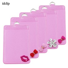 цена на idclip Pink Kiss Leather Badge Card Holder Case ID Badge Bank Credit Card Badge Holder Accessories