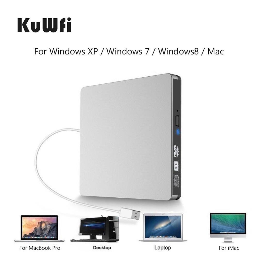 KuWFI Externe USB 3,0 DVD Brenner Schriftsteller Recorder DVD RW Optisches Laufwerk CD/DVD ROM Player MAC OS Windows XP/7/8/10