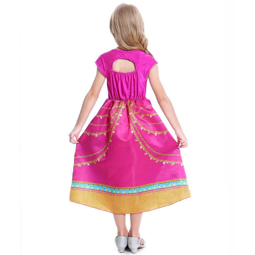 Hot Gelsomino Abito Da Principessa Cosplay Parrucche per le Ragazze Aladdin Natale Splendida Rosa Vestiti Per Bambini Jasmine Costume Vestiti Dei Bambini