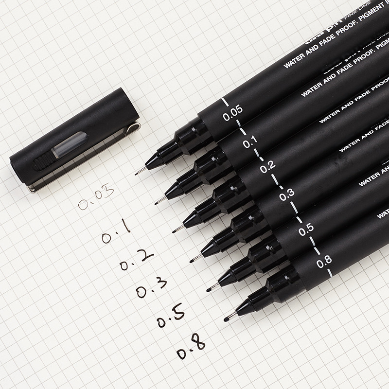 6 Pcs  Hook Line Pen 0.05 0.1 0.2 0.3 0.5 0.8mm Engineering Drawing Office Writing Gift Pen Black Ink Gel Pen