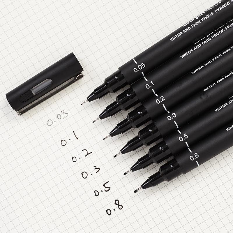 6 Pcs  Hook Line Pen 0.05 0.1 0.2 0.3 0.5 0.8mm Engineering Drawing Office Writing Gift Pen Black Ink Gel Pen