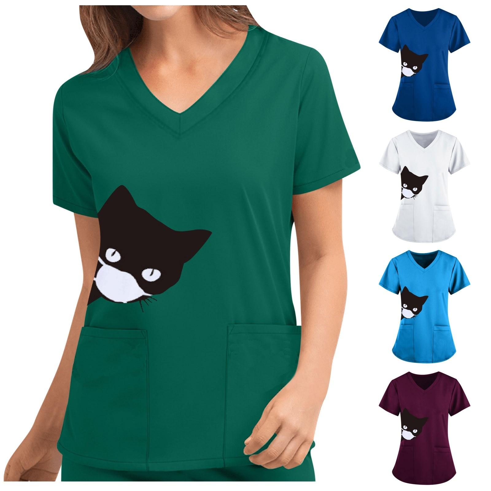 Katze Drucken T shirt Uniform Scrubs Frauen Niedlichen Print Kurzarm V-ausschnitt Top Arbeit Uniform Einfarbig Tasche Top poleras
