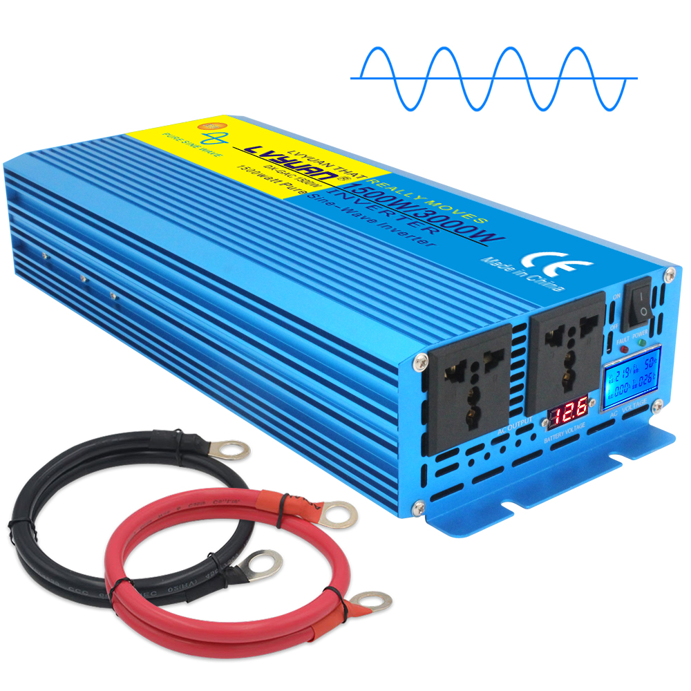 Power Inverter 12V dc 110V 120V ac 1000 Watt 2000W Pure Sine Wave LCD Car Truck