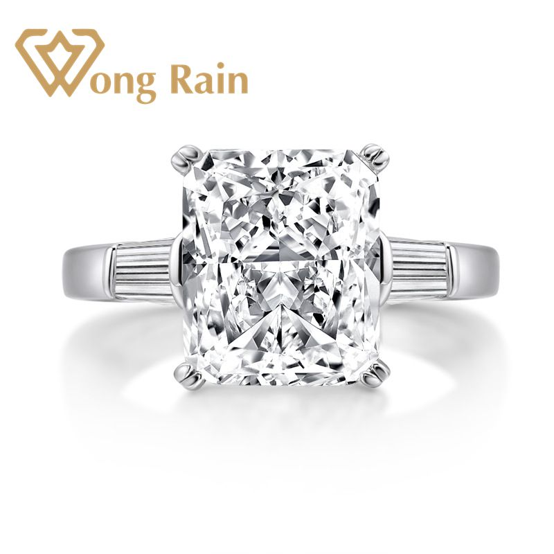 Wong Rain Classic 100% 925 Sterling Silver Created Moissanite Gemstone Diamonds Wedding Engagement Ring Fine Jewelry Wholesale