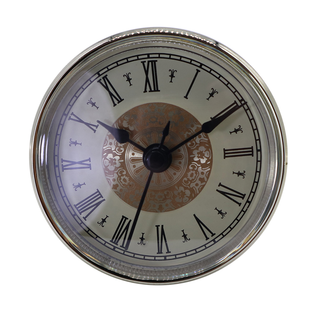 Clock Insert Quartz Movement Round 2.76 Inch (70 Mm) Miniature Clock Fit Up White Face Silver Tone Bezel Roman Numerals