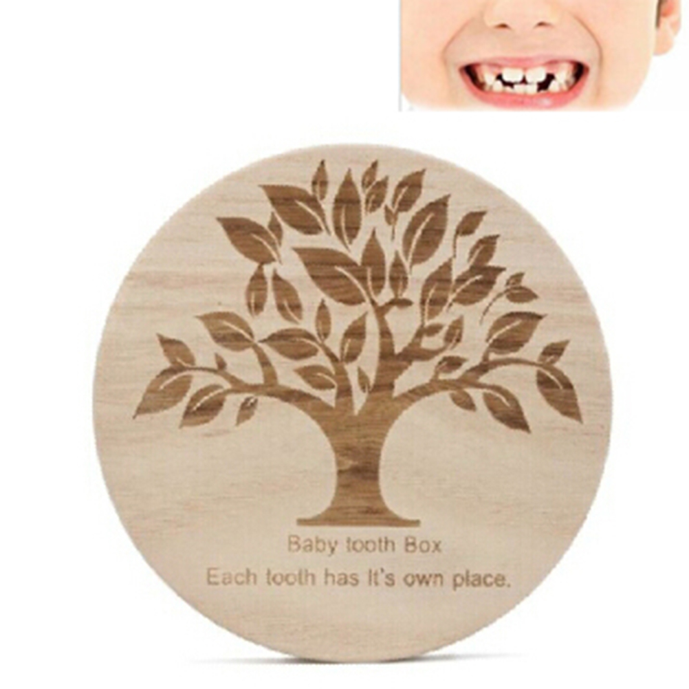 Baby Souvenir Collection Lanugo Baby Teeth Box Wooden Tooth Box Organizer Save Milk Teeth Wooden Storage Collecting Teeth Gifts