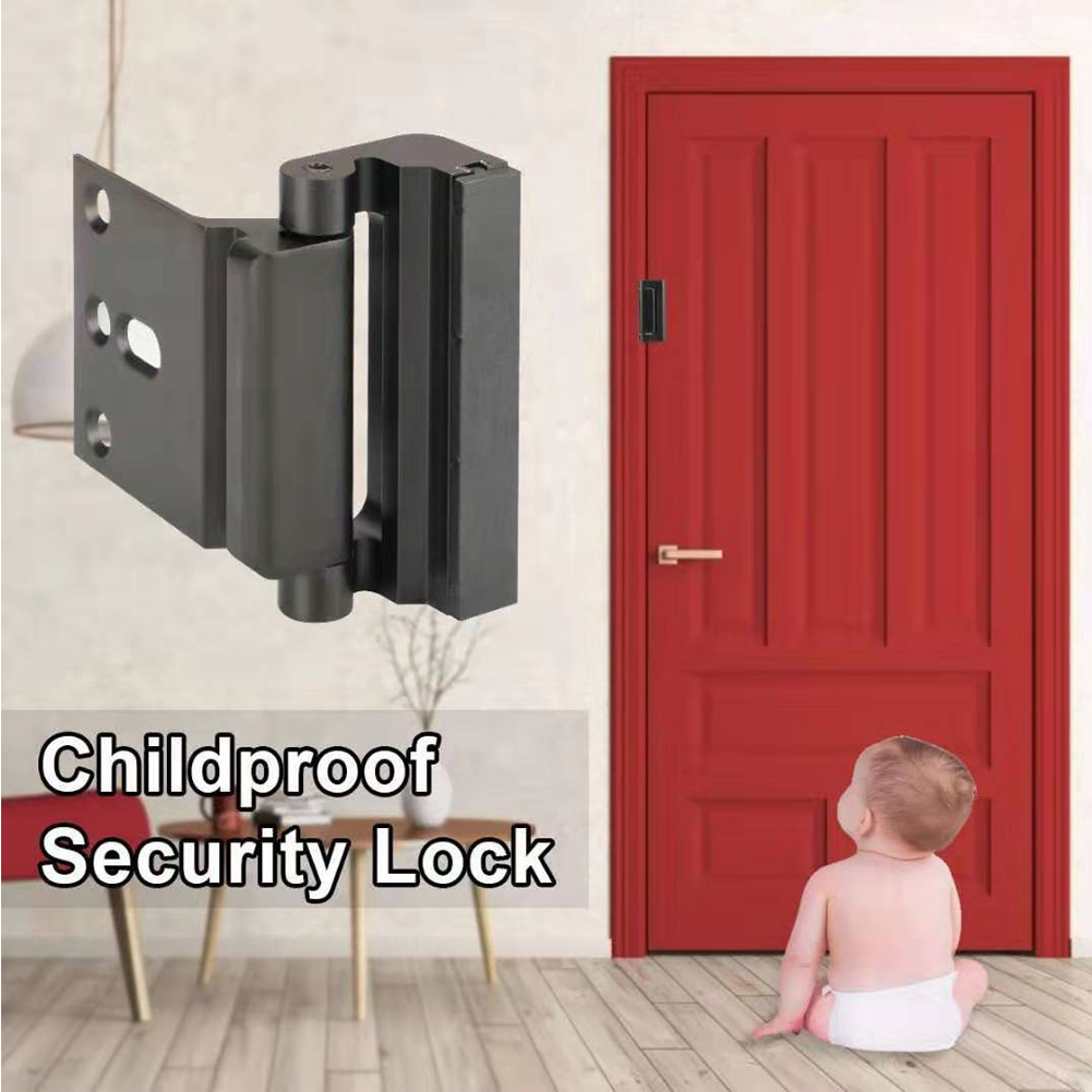 "Aluminium Alloy U Door Reinforcement Lock 3""Defender Security Door Lock Home Child Proof Door Stopper Security Door Lock HX1118"