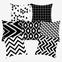 Schwarz und Weiß Kissen Dekorative Geometrische Kissen abdeckungen kissen für Sofa Polyester 45*45 Werfen Kissen Abdeckungen 10040-in Kissenhülle aus Heim und Garten bei