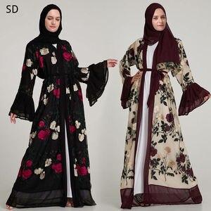 Flare Sleeve Embroidered Open Abaya Muslim Robes Syari Tunics Jubah Ramadan Prayer Aba