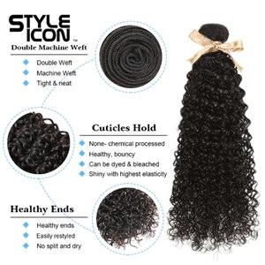 Image 4 - Malaysian Kinky Curly Bundles With Closure Curly Human Hair Bundles With Closure Styleicon 3 Bundles Curly Bundles With Closure