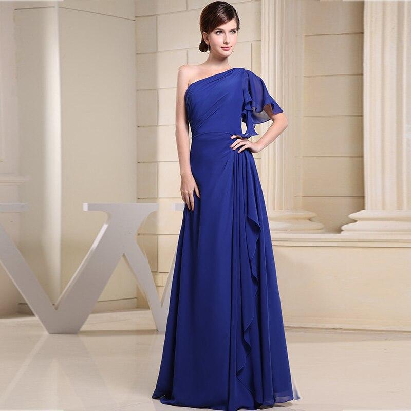 Mother Of The Bride Dress Elegant A-Line One-Shoulder Chiffon Long Dresses Royal Blue Mother Dress