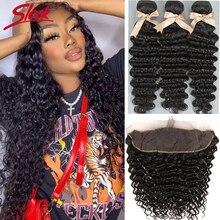 Sleek глубокая волна бразильские волосы пряди человеческих волос для наращивания 3 пряди с закрытием волна пряди с закрытием
