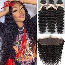 Onda profunda elegante feixes de cabelo brasileiro extensão do cabelo humano 3 pacotes com fechamento frontal onda pacotes com fechamento frontal