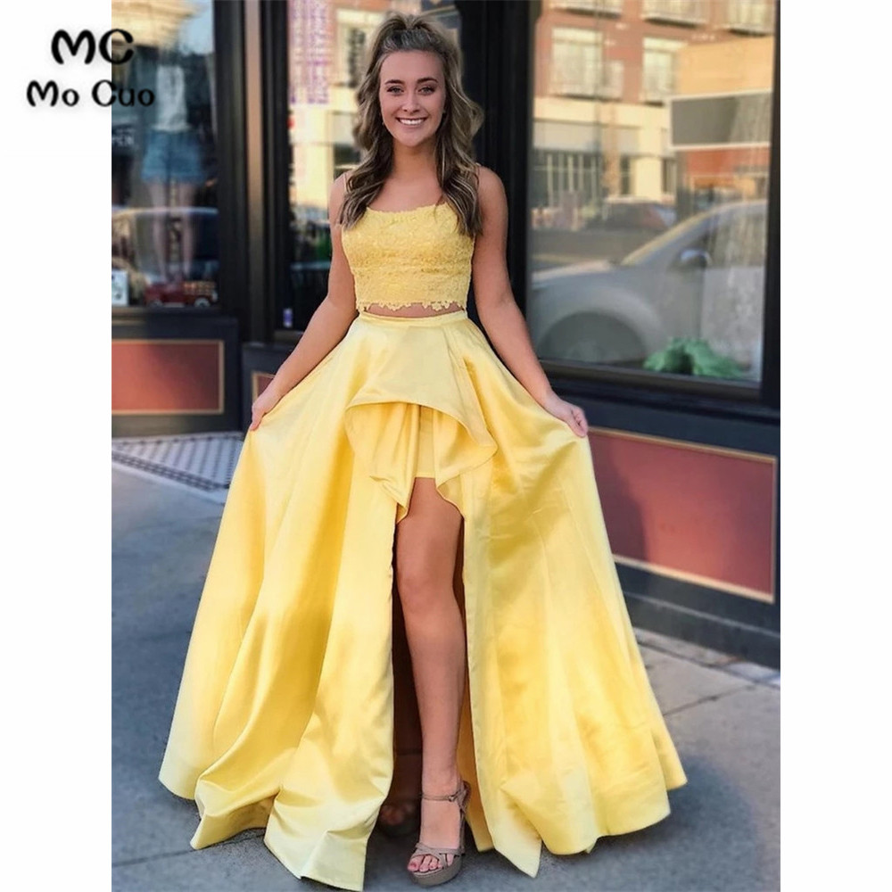 Two Pieces Gown Yellow Lace   Prom     dress   High Low Gown Evening Gown Pockets Satin Vestido de festa   prom     dresses   Custom Made