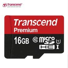 Transcend פרימיום זיכרון כרטיס 16GB Class10 U1 MicroSDHC כרטיס לקרוא עד 90 MB/S UHS 1 TF כרטיס 16GB עבור samrtphone ושולחן מחשב