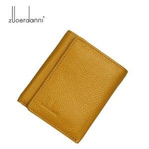 Image 5 - Di modo delle donne del cuoio genuino piccolo femminile portafoglio Tri fold borsa breve per sacchi di denaro con il supporto di carta della signora mini slim portafogli
