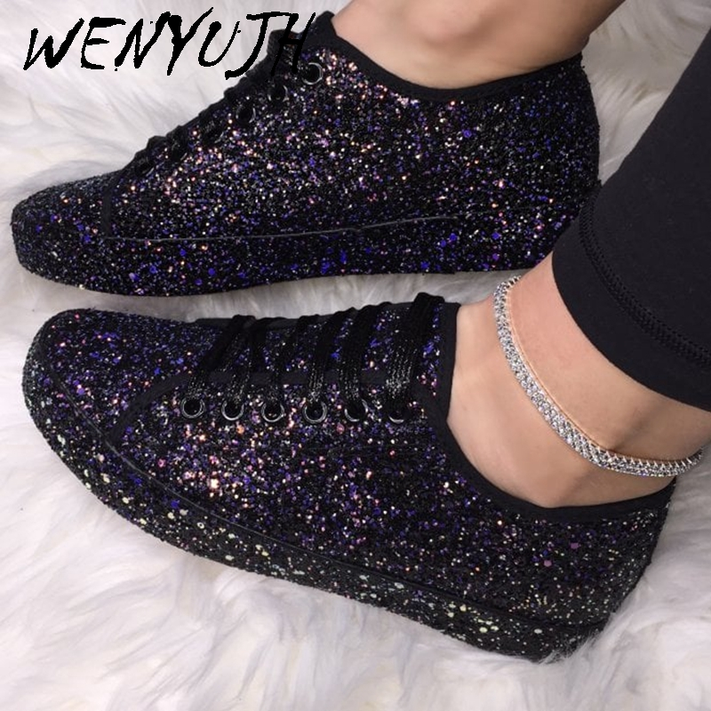 Spring Autumn Women Sneaker Platform Shoes Women's Fashion Casual Breathable Crystal Bling Lace Up Sport Shoes 35-43