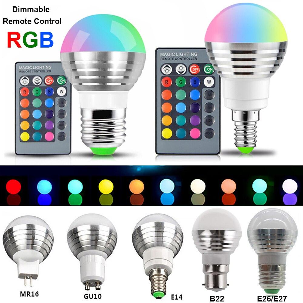 RGB LED Glühbirne Lampe E14 E27 B22 GU10 MR16 3W Farbe ChangeSpot LED Lampe Dimmbar Magie Lampen + IR Fernbedienung D40