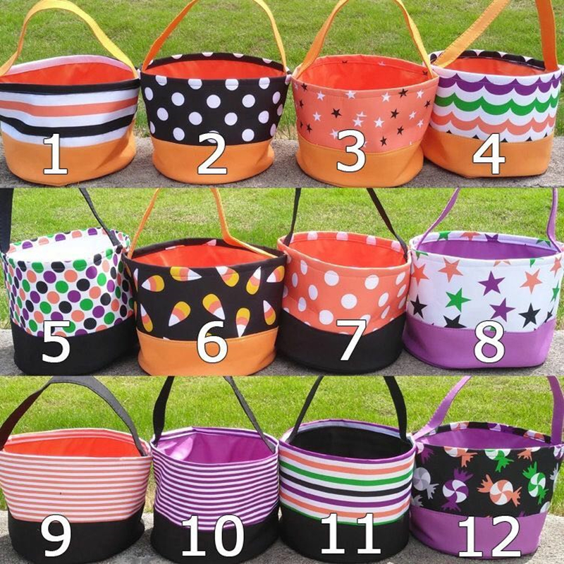Gift-Basket Sack Candy-Bag Blank Sublimation Halloween Buckets Monogrammed Polka-Dot