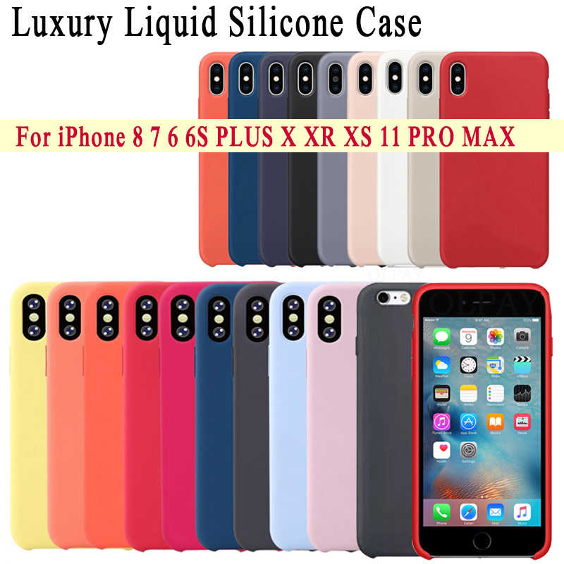 Luxury Silicone Case For iphone 8 7 6S 6 Plus 11 Pro X XS XR MAX Case on Apple iphone 7 8 plus X 10 Cover case Official Original