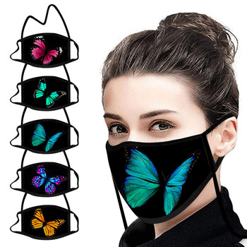 1pc Adult's Hang Neck Face Masks Butterfly Outdoor Reusable Coarse Rope Cotton Mouth Mask Cover Washable Mascarillad De Tela image