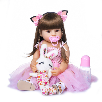 New sweet face  NPK DOLL bebe reborn toddler girl pink princess bathe toy very soft full body silicone girl doll surprice