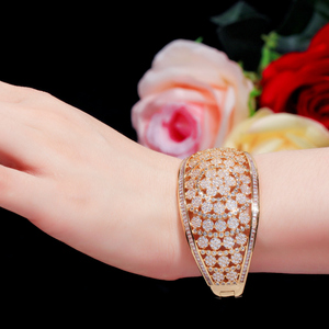 Image 2 - CWWZircons Glitter Indian Gold Color Micro Pave Cubic Zirconia Fancy Flower Large Wide Statement Bridal Wedding Bangles BG037