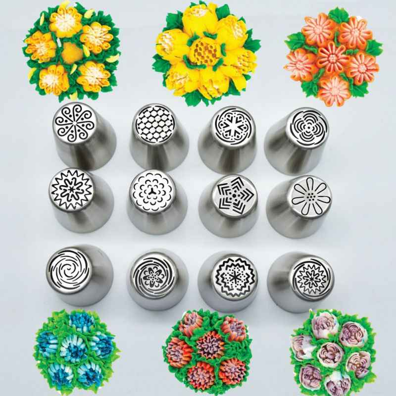 12Pcs/Set Non toxic Stainless Steel Tulip Icing Pipe Nozzle Flower Cream  Pastry Nozzle Kitchen Accessories Baking Tool #8| | - AliExpress